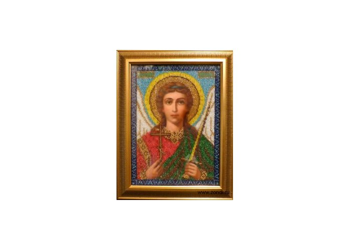 """Икона вышитая бисером  """"Ангел - Хранитель """"Икона вышитая бисером  """"Ангел - Хранитель """" ручной работы, в багетной раме..."""